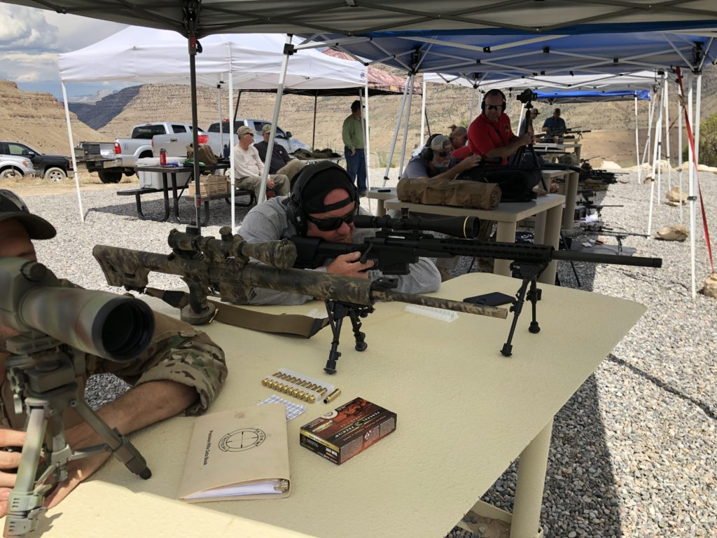 The firing line at a precision rifle competition